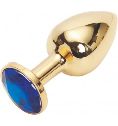 Rosebud Gold ButtPlug with Blue Crystal - Small