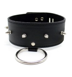Leather Collar with ring, rivets decoration, padlock & key