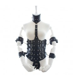 Leather body harness with arm bound